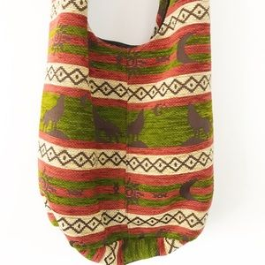 Bohemian Crossbody bag. Green Pumpkin 100% Cotton